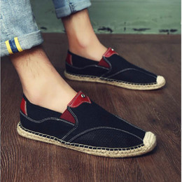 $enCountryForm.capitalKeyWord Australia - Fashion Design Men Casual Flats Moccasins Homme Driving Loafers Embroider Espadrilles Men Fisherman canvas Boat Shoes LA-65