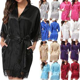 Wholesale hot pajamas for women for sale – plus size Sexy Underwear Women Dress Bathrobe Lace Up Floral Sleepwear Pajamas Nightdress Robe Women Soft Lingerie for Women Hot Sale