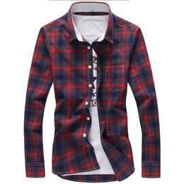 blue red checkered shirt Australia - 5XL Plaid Shirts Men Checkered Shirt Brand 2019 New Fashion Button Down Long Sleeve Casual Shirts Plus Size Drop Shipping SH190912