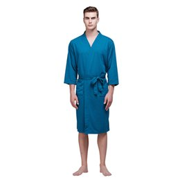 China MUQGEW pajamas for men bathrobe men nightgowns cotton Summer Sexy Mid-length Waffle Thin Men's Tunic Bathrobe#G4 cheap cotton waffle bathrobes suppliers