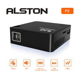 Flash Drive Battery NZ - ALSTON Convenient Projector P2 DLP HD 1920X1080P Built-in Battery Handheld Mobile Film Projector with USB flash drive