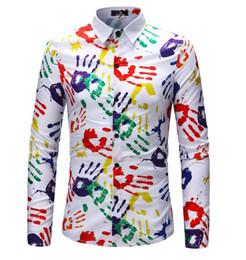 Color Pattern Shirt Australia - New Arrival Man Fashion Shirt Pattern Design Long Sleeve Paint Color Print Slim Fit man Casual Shirt Men Dress Shirts