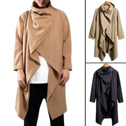 Cotton Trench Australia - Chinese Style Men Outerwear Trench Coat Long Sleeve Scarf Collar Cotton Vintage Casual Punk Style Hip-hop Men Cloak Jacket Coats