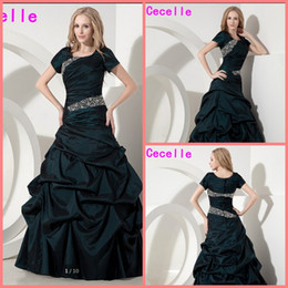 de883cdaa8b3 2019 Modest Dark Green Long Prom Dresses Gowns With Sleeves For Women  A-line Beaded Crystals Taffeta Teens Vintage evening party Prom Gowns