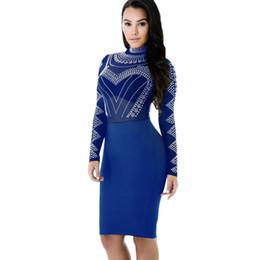 Sexy Women Dot Print Dress Semi-sheer Stand Collar Long Sleeve Pencil Dress  Zipper Bodycon Party Midi Dresses Autumn Vestidos 716ea30320bb