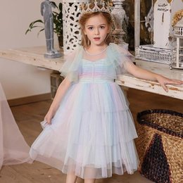 cupcakes styles UK - Summer New England Style Girls Layers Cupcake Elegant Princess Dress Color Mesh Shoulder Lotus Birthday Party Children Clothes