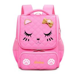 Cute Waterproof Bag Australia - Cute pink Cat School Bags For Girl Orthopedic Backpacks Children Waterproof Schoolbags 2018 NEW teenagers Satchel Knapsack