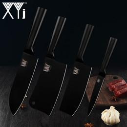 "Black Kitchen Knife Set Australia - XYj Black Blade Kitchen Stainless Steel Knife Hot Quality 7"" Santoku 5"" Utility 6.5"" Chopping Kitchen Knife"