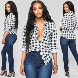 Lady T Shirts Full Australia - New Brand Ladies and ladies plaid shirt long sleeve flannel button top Casual Full sleeve V-Neck T-shirt