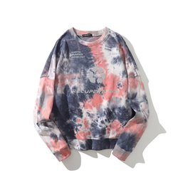 tie dye printing Australia - Tie Dye Long Sleeve Sweatshirt Men and Women Harajuku Round Neck Loose Print Pullover Hoodies Oversize Stranger Things Hoodie