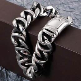silver bracelets mens hand UK - Factory Dropshipping Bracelet Men Polish Silver Color Stainless Steel Hand Chain Mens Hiphop Bracelets Male Jewelry Accessories