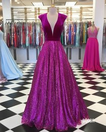 velvet african fashion dresses 2020 - Sparkly Sequined Skirt Velvet Top Evening Dresses Formal Gowns 2020 V neck Short Sleeves Long Cheap African Mother Prom