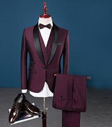 $enCountryForm.capitalKeyWord NZ - Dark Red Mens Tuxedo Suit 3 Piece Set White Blue Red Asia Size s-6xl Men Blazer WL