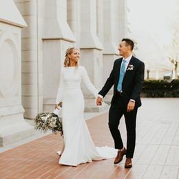 d9124ea3a75 Elegant White Mermaid Muslim Wedding Dresses Jewel Neck Long Sleeve Church  Wedding Gown Sweep Train Satin Country Bridal Dress