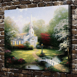 Framed Painting Scenery Australia - Thomas Kinkade,Hometown Chapel Scenery,1 Pieces Canvas Prints Wall Art Oil Painting Home Decor (Unframed Framed) 20x24.