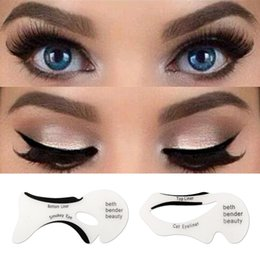 eyeliner guide template Australia - 2pcs Eyeliner Stencil Kit Model For Eyebrows Guide Template Shaping Maquiagem Reusable Eye Shadow Frames Card Makeup Tools