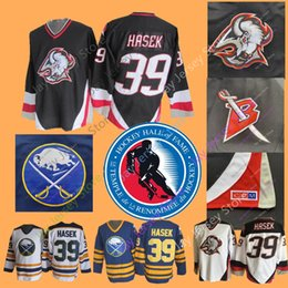 96833ba3bbe Dominik Hasek Jersey With 2014 Hall Of Fame Patch Ice Hockey Buffalo Sabres  NEW York Islanders Jerseys CCM Vintage White Navy Home Away