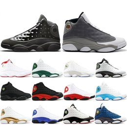 Table Cat Box Australia - Hot Sale 13 13s Cap And Gown Atmosphere Grey For Men Phantom Basketball Shoes Flint DMP Chicago Black Cat Mens Trainers Sneakers 41-47