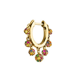 Earring Hoops Balls NZ - colorful disco ball charm elegance 2019 new women jewelry Small hoops floating ball charms trendy earring Gold