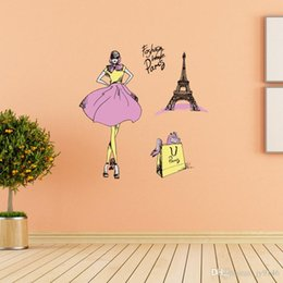 $enCountryForm.capitalKeyWord Australia - Fashionable Woman Shopping Paris Wall Stickers DIY Fashion Themed Wall Decal for Girls Room and Dressing Room Decor Eiffel Tower Decal