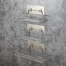 wall spice racks NZ - Stainless Steel Bathroom Storage Shelf Punch-Free Kitchen Bathroom Toilet Wall Hanging Storage Rack SH190920