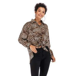 Wholesale Women Blouse Single breasted Sexy Leopard Print Shirt Fashion Lapel Long Sleeves Shirts for Lady M XL