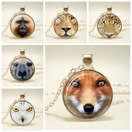 cute fox jewelry Canada - Fox Pendant Necklace Cute Red Fox Face Jewelry Glass Cabochon Pendent Necklace Personalized Animal Picture Necklace