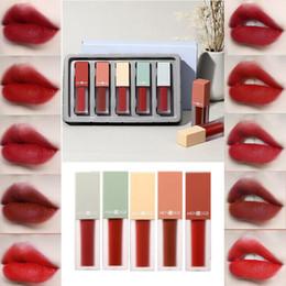 $enCountryForm.capitalKeyWord NZ - 5Pcs Set Waterproof Liquid Lip Gloss Metallic Matte Lipstick Long Lasting Plumper Lip Tint Cosmetic