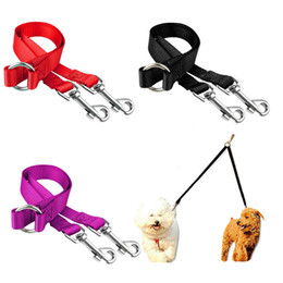 dog leash black NZ - Double Dog Leash for Two Dogs Walking and Training Two Pets Cats Twin Dual Couple Dog Double Leashes Nylon V Shape