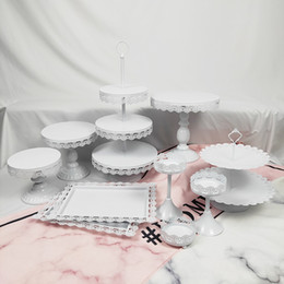 tier crystal cake stand Canada - Wholesale 10 Pcs Metal Set Wedding Vintage Two Three Tiers Cup Round Pink White Cupcake Crystal Party Cake Stand