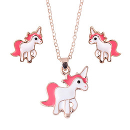 unicorn earrings NZ - Hot Sale Pink Animal Jewelry Set Chain Kids Jewelry Cartoon Horse Unicorn Necklace Earring Sets For Girls Best Gifts
