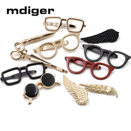 branded tie clip NZ - Mdiger 15 Styles Tie Clips Business Brand Glasses Scissor Arrow Tie Bar for Mens Suit Necktie Clasp Clip Wedding Neck Clips