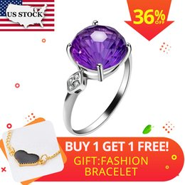 $enCountryForm.capitalKeyWord NZ - Us Stock Uloveido Amethyst Solitaire Ring, 925 Sterling Silver, 10*10mm Certified Round Purple Gemstone Wedding Jewelry Fj219 J190528