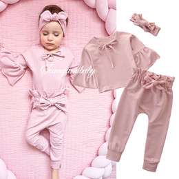 $enCountryForm.capitalKeyWord Australia - Toddler kids outfits girls lace-up Bows tie falbala sleeve blouse+ruffle Bows belt pants+bowknot headbands 3pcs sets baby girl clothesF8535