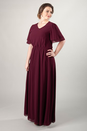 aa7f8815333b 2019 Dark Red Chiffon Plus Size Long Modest Bridesmaid Dresses With Flutter  Sleeves A-line Floor Length Beach Wedding Party Dress