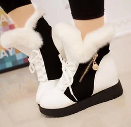 White Rabbit Hair Australia - Fashionable and high-end women black and white rabbit hair high boots high quality cowhide boots Winter cold waterproof boots Sports lace-up