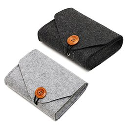 Chinese  Portable Travel Felt Power Bank USB Data Cable Earphone Organizer Bag Fastener Storage Pouch Case for Cell Phone Accessory manufacturers