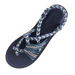 250ae138358a Women Sandals 2019 Summer New Fashion Rope Flip Flops Sandals Summer Fashion  Roman Beach Shoes Female Casual Slippers