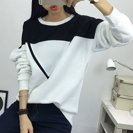 white women tracksuit Australia - Women Fashion Black and White Spell Color Patchwork Hoodies Girls V Pattern Pullover Sweatshirt Female Tracksuit