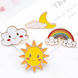 sun brooch Australia - Europe And America Creative Pin Cute Rainbow Sun Cloud Badge Black Cloud Brooch Lapel Pin Lady Cute Brooch Jewelry