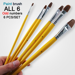 $enCountryForm.capitalKeyWord Australia - Free Shipping 6Pcs odd numbers Artist wolf horse Hair Paint Brush Set Acrylic Oil Painting Watercolor art Supplies