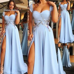 f27110505b 2019 Elegant Blue A-line Sweetheart Cap Sleeves Split Evening Wear In Stock  Hot Sales High-end Occasion Dress
