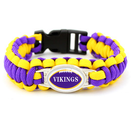 Camp Charms Australia - Glass Convex Ellipse Vikings Football Team Outdoor Camping Survival Paracord Charm Bracelets Purple Yellow Umbrella Rope Mens Womens Jewelry