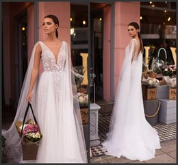Gold applique weddinG Gown online shopping - Designer New A Line Wedding Dresses with Sheer Cape Appliques Deep V Neck Low Back Long Summer Boho Bridal Gowns A2604