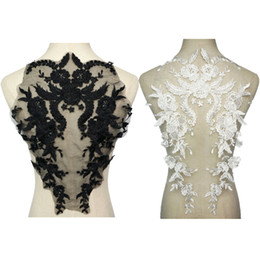 $enCountryForm.capitalKeyWord NZ - Black White Flowers Wedding Gown Appliques Embroidered Fabric Collar Flora Lace Trims Mesh Sew On Patch For Bridal Dress DIY Decoration