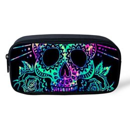 Candies Cases Australia - THIKIN Cool Punk Student School Pencil Bag Candy Skull Women Make up Bag Sugar Skull Zombine Polyester Pencil Case Customize