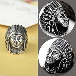 Wholesale Vintage Jewelry Zinc Alloy Australia - 6 Pcs Soldier Exaggerated Punk Style Indian Chief Index Finger Rings Fashion Bike Jewelry Zinc Alloy Vintage Men Ring