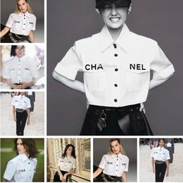 Plus size blouse short sleeve online shopping - White Shirt Female Swallowtail Pocket Letter High Waist Short Sleeve Umbilical Shirt blouse woman Plus size