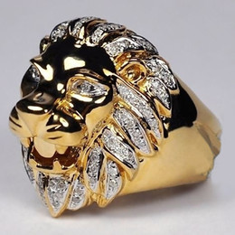 Chinese  Punk Style Lion Head Ring Men's 14K Rose Gold Natural White Sapphire Gemstone Diamond Ring Wedding Jewelry Size 6-13 manufacturers