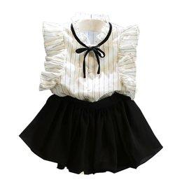 $enCountryForm.capitalKeyWord Australia - 9Styles Kids Outfits INS Baby Girls Clothes Sets Children Summer Cotton Chiffon T-shirt+Skirts Short Pants Floral Letter Print Suit GGA2345